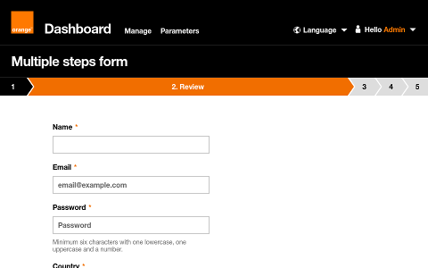 Orange form screenshot