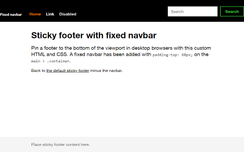 Sticky footer navbar screenshot
